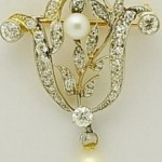 Vintage Diamond and Pearl Pin or Pendant