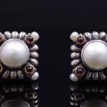Lagos pearl and garnet earrings