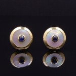 18kyg Mother of Pearl and Sapphire Cuff Links