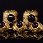 18kyg William Ruser Garnet Cuff Link and Stud Button Set