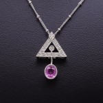 18K White Gold and Pink Sapphire Diamond Fashion Pendant