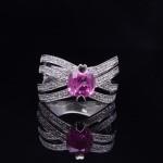 18K White Gold and Pink Sapphire Diamond Fashion Ring
