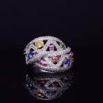 Ladies 14kwg Multi-Colored Stone and Diamond Fashion Ring