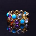 Ladies 14kyg Multi-Colored Stone Fashion Band