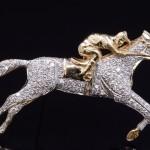 14kyg Diamond Pave' Thoroughbred Pin Pendant Combo
