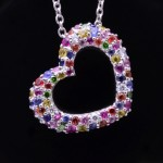 18kwg Multi-Colored Sapphire Open Heart Pendant on Chain
