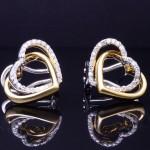 Ladies 18ktt Diamond Heart Fashion Earrings
