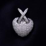 Ladies 18kwg Pave' Diamond Puffed Heart