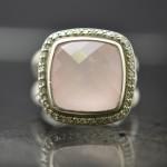Sterling Silver David Yurman Albion Rose Quartz and Diamond Ring