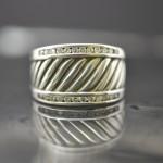 Sterling Silver David Yurman Silver Ice Thoroughbred Diamond Ring