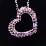 White Gold Multi-Colored Sapphire Open Heart Pendant