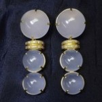 Yellow Gold Frosted Quartz Fashion Earrings
