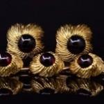 Garnet Cuff Link and Stud Button Set By William Ruser