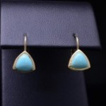 Yellow Gold And Turquoise Fashion Earring