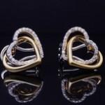 Yellow And White Gold Diamond Heart Earrings