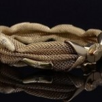 Yellow Gold Mesh and Diamond Flex Bangle Bracelet