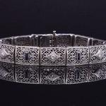 Vintage White Gold Filigree Diamond Bracelet