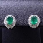 White Gold Emerald And Diamond Fashion Earrings