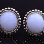 Sterling Silver Carved Chalcedony Fashion Earrings By Stephen Dweck