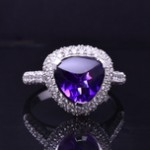 White Gold Amethyst and Diamond Fashion Ring