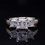 Yellow And White Gold Princess Cut Diamond Engagement Ring