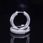 White Gold Diamond Pave Inside Outside Hoop Earrings