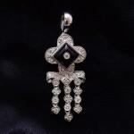White Gold Black Onyx and Diamond Fashion Pendant