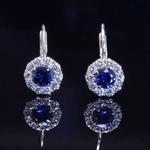 White Gold Sapphire and Diamond Fashion Earrings