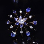 Vintage Sapphire and Diamond Starburst Pin