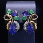 Vintage Two Tone Carved Sapphire and Emerald Diamond Earrings