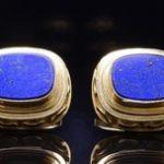Yellow Gold and Lapis lazuli Cuff Links