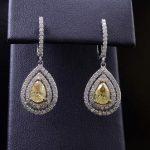 Ladies 14k White Gold Fancy Yellow Diamond Fashion Earrings