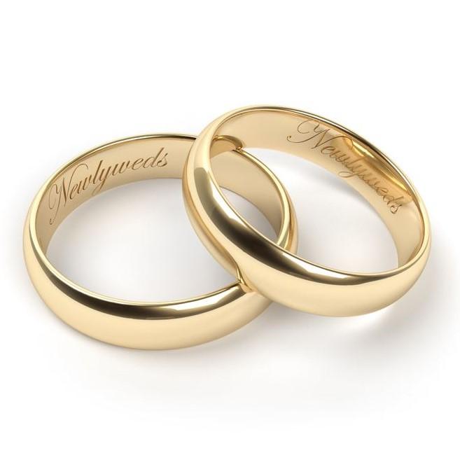 Gold wedding bands engraving